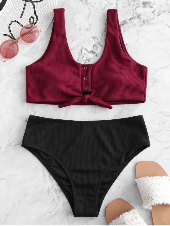 fancy ZAFUL Color Block Snap Button Ribbed Tankini Swimsuit - PLUM PIE L
