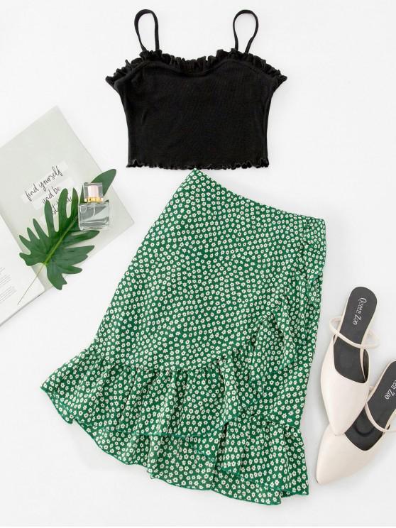 Conjunto de falda con solapa y top floral con volantes de Ruffles - Multicolor-A M