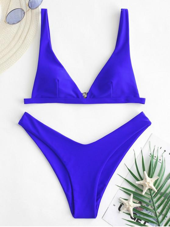 f19774817f ZAFUL Maillot de Bain Bikini Néon Plongeant à Coupe Haute - Bleu Cobalt L