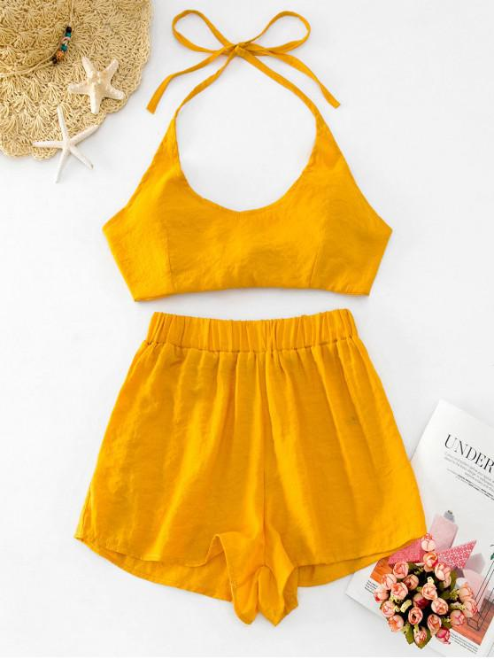 outfits Knotted Back Halter Top and Shorts Set - GOLDENROD L