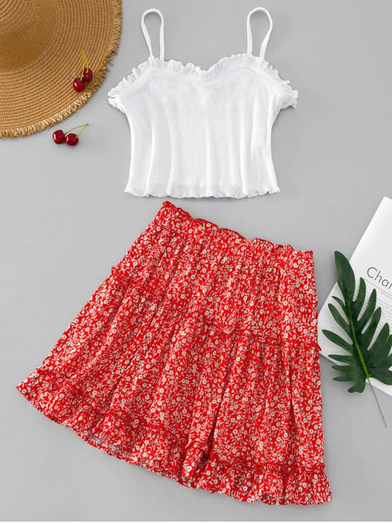 chic Ruffle Cami Top and Tiny Floral Skirt Set - MULTI-A S