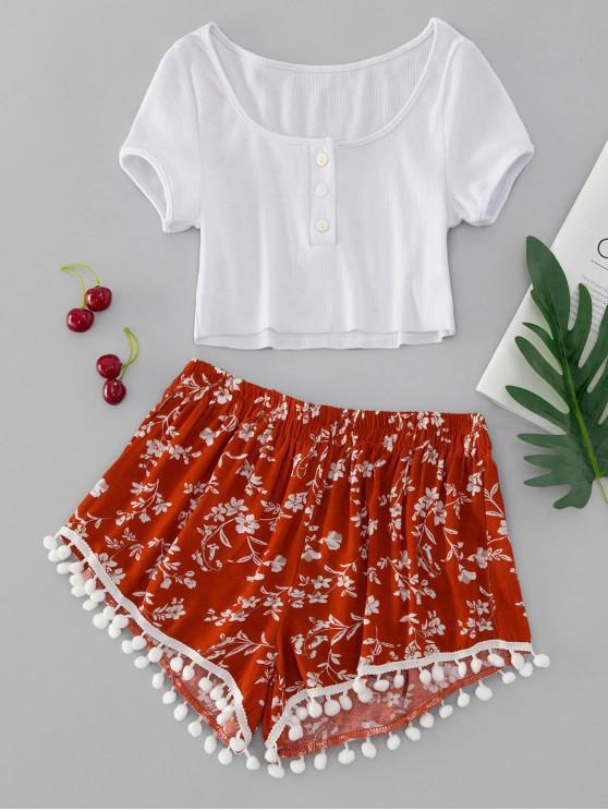 fashion Floral Print Half Button Pompoms Shorts Set - MULTI-A M