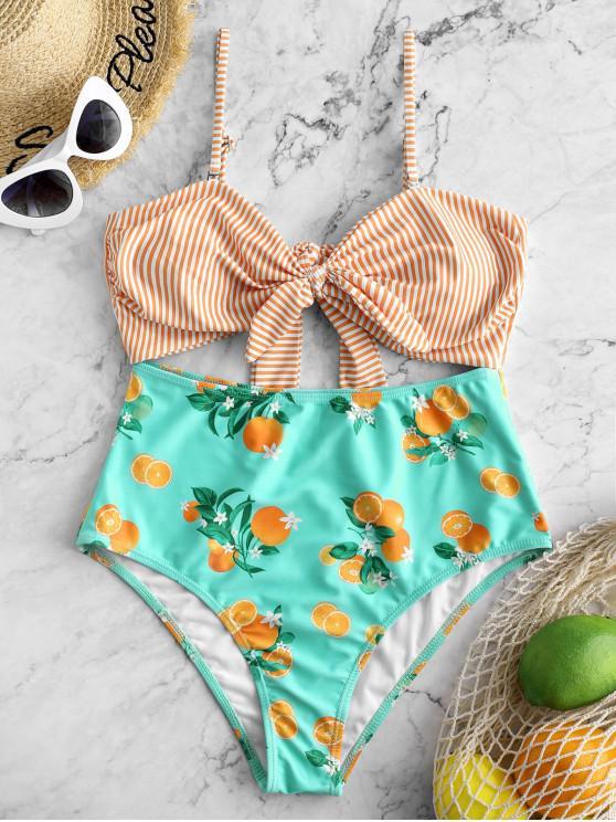 affordable ZAFUL Striped Orange Print Tied Monokini Swimsuit - MULTI-A S