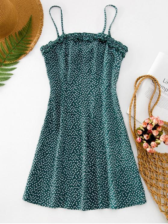 fashion ZAFUL Frilled Ditsy Print Mini Cami Dress - LIGHT SEA GREEN L