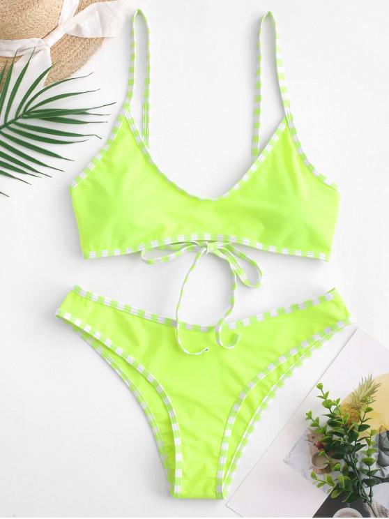 women's ZAFUL Contrast Striped Trim Bralette Bikini Swimsuit - GREEN YELLOW S