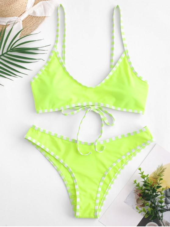 ZAFUL Maillot de Bain Bikini Contrasté à Ourlet Rayé - Vert Jaune L