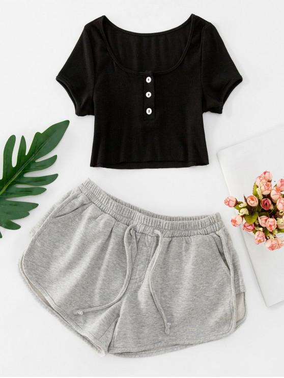hot Buttoned Crop Tee and Knotted Shorts Set - BLACK M