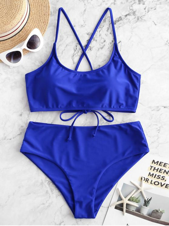 trendy ZAFUL Lace Up Padded High Waisted Bikini Swimsuit - COBALT BLUE XL