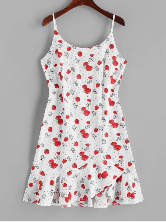 trendy Strawberry Floral Dotted Ruffles Cami Dress - WHITE L