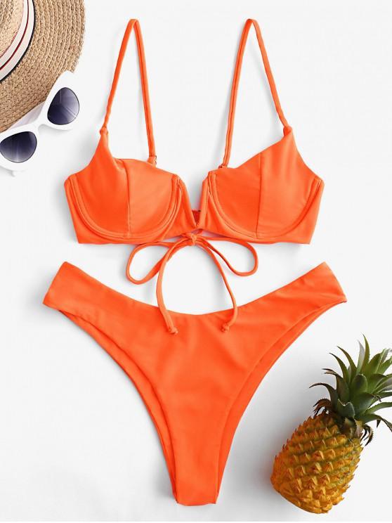Bañador de bikini con balconette push up ZAFUL con cable en V - Naranja de Halloween L