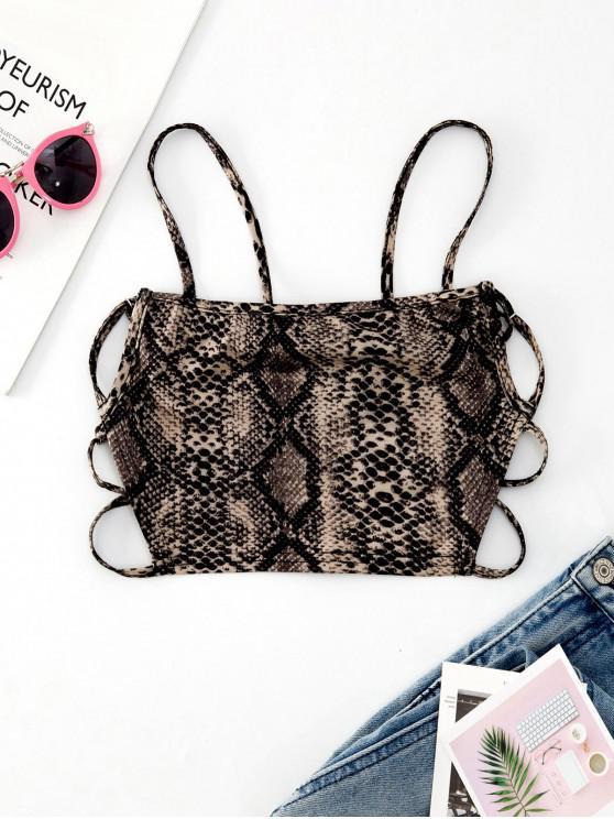 women ZAFUL Strappy Open Back Snake Print Cami Top - MULTI XL