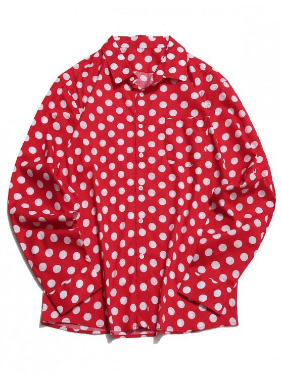 affordable Polka Dots Print Long Sleeves Button Shirt - LAVA RED L