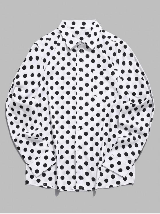 hot Polka Dots Print Long Sleeves Button Shirt - WHITE XL