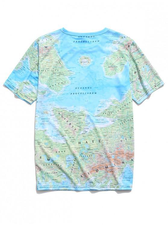 Xl Manches Carte Avec Courtes shirt À DétailléeBleu De T Ciel W29DHEI