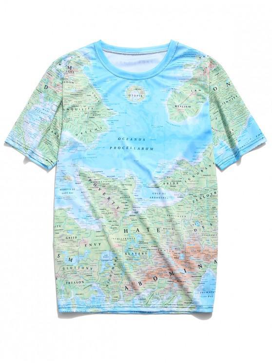 T-shirt à manches courtes avec carte détaillée - Bleu de Ciel  4XL