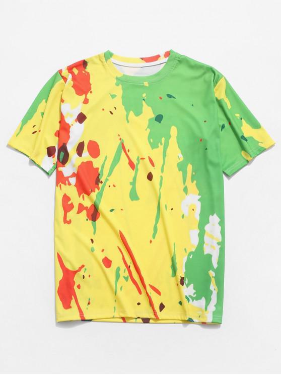 Camiseta colorida del ocio de la impresión de la pintura de la salpicadura - Multicolor XS