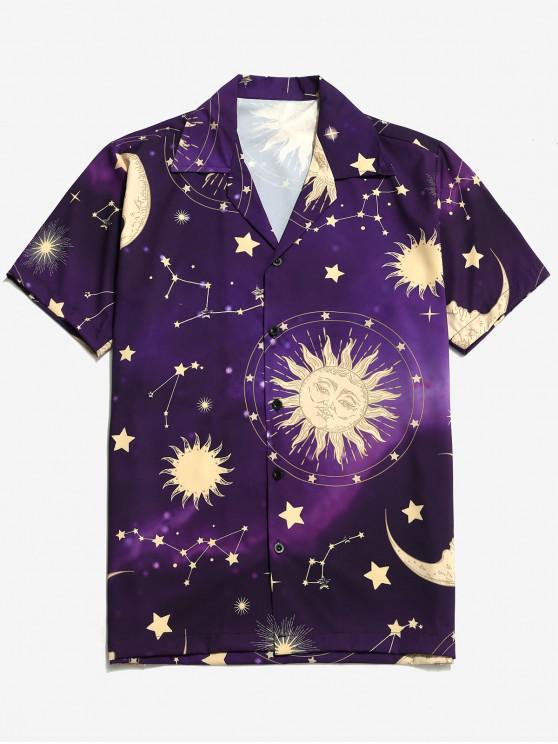 Camisa con estampado de luna y estrellas de Sun - Orquídea Oscura 2XL