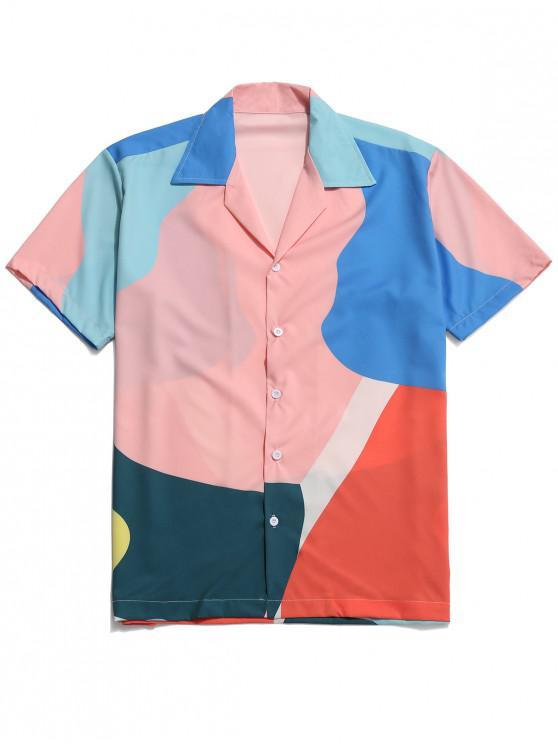 hot Colorful Print Button Beach Shirt - MULTI S