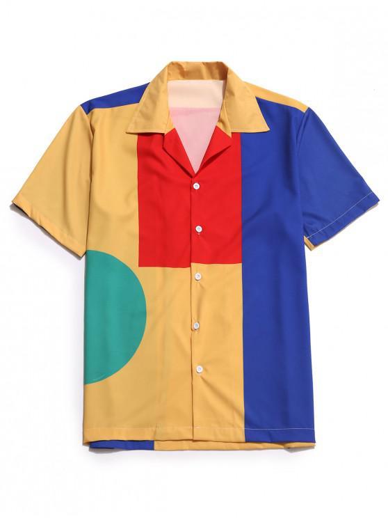 lady Geometric Color Block Button Shirt - MULTI M