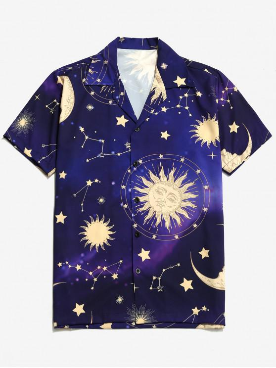 affordable Sun Moon and Stars Print Button Shirt - COBALT BLUE L