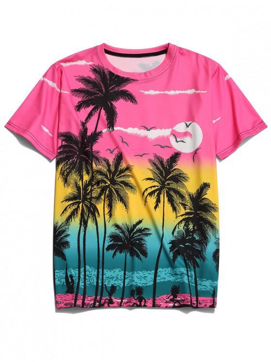 best Beach Palm Scenery Print Hawaii Tee - MULTI-D XS