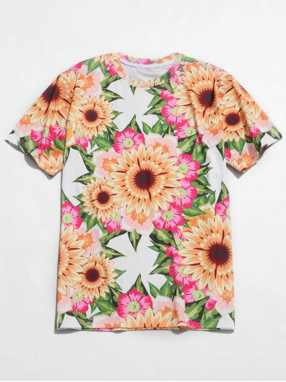 sale Sunflower Print Casual Beach Tee - MULTI XS