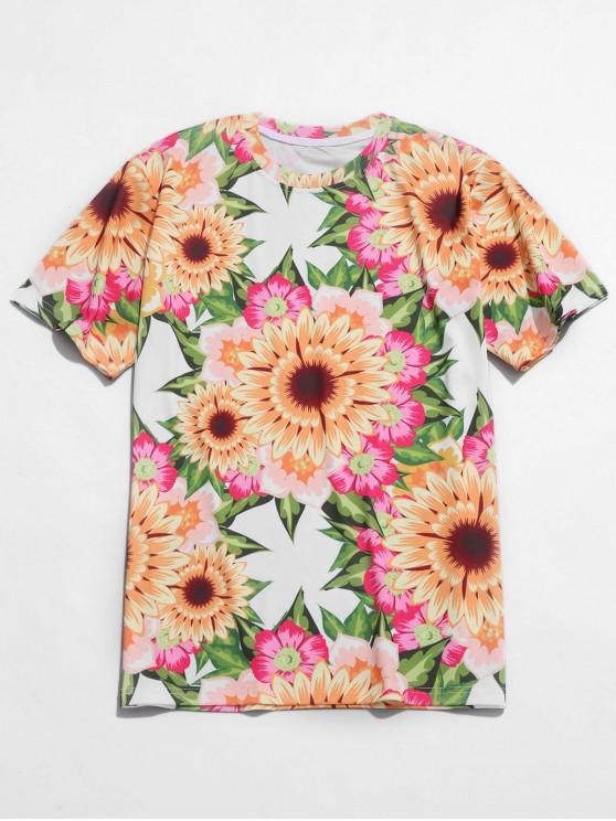 affordable Sunflower Print Casual Beach Tee - MULTI S