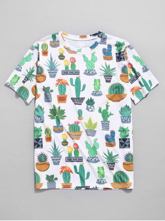 Camiseta con estampado de cactus de la planta - Multicolor XL