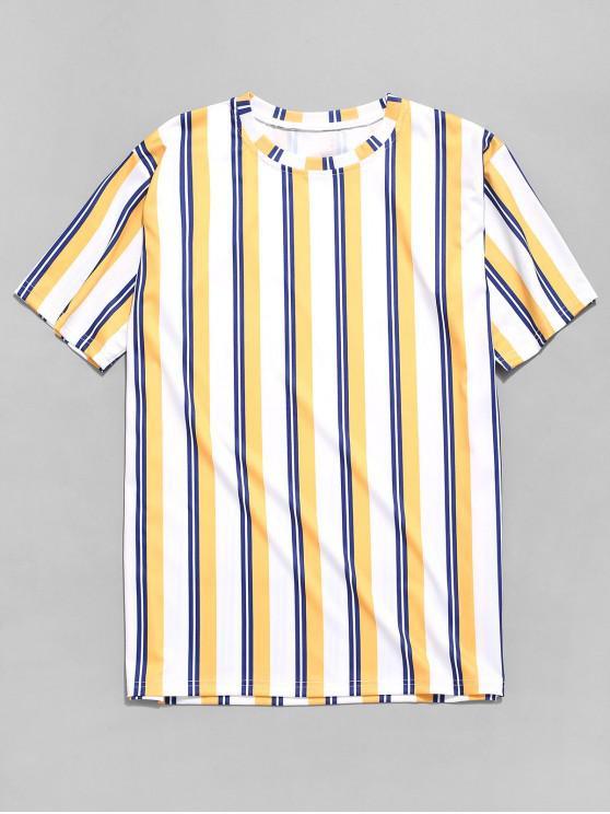 shop Colorful Vertical Stripe Print T-shirt - MULTI S