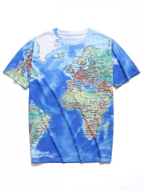 Camiseta de manga corta estampada con mapa del mundo detallado - Multicolor L