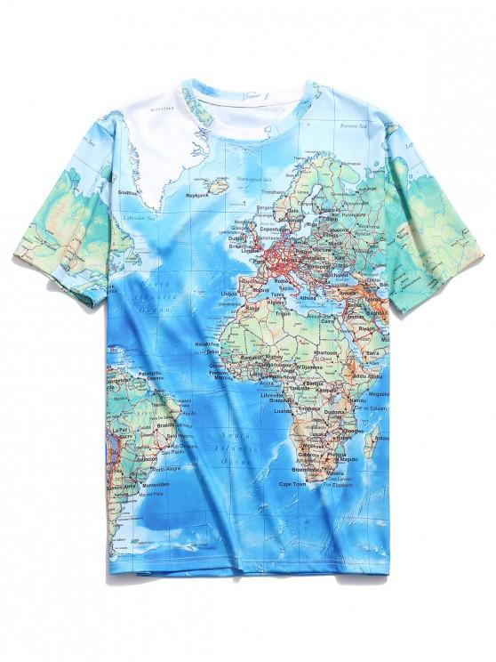 Camiseta de manga corta estampada con mapa del mundo detallado - Multicolor-A S