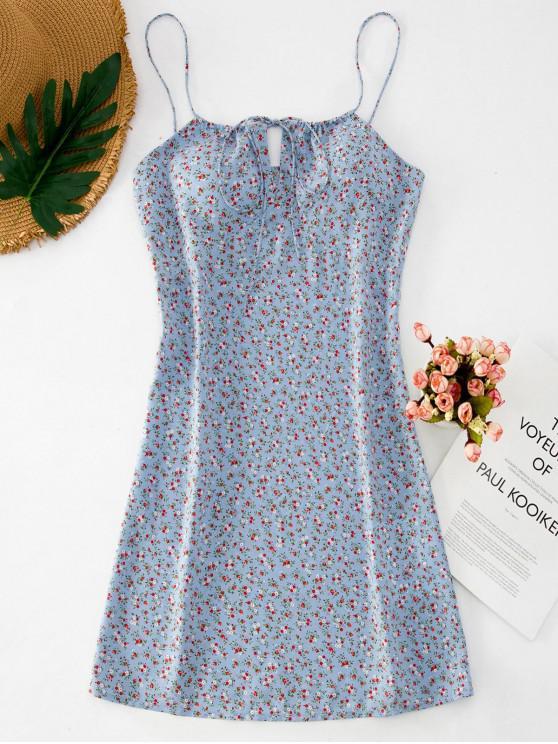 ZAFUL Floral criativo Curto Cami vestido do verão - Azul Claro S