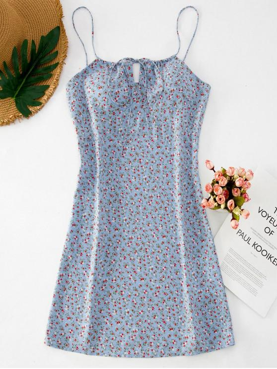 outfit ZAFUL Ditsy Floral Short Cami Summer Dress - BABY BLUE L