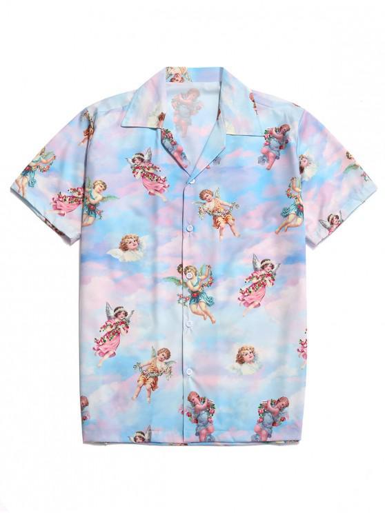 hot Paradise Floral Angel Print Beach Shirt - MULTI L
