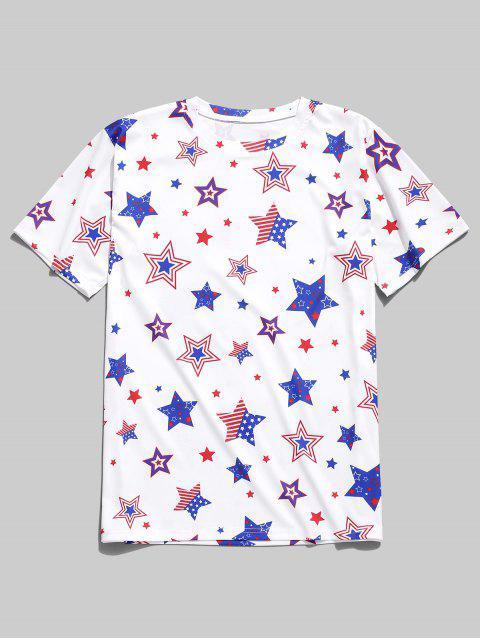 Camiseta con estampado de estrellas de la bandera americana - Blanco M Mobile