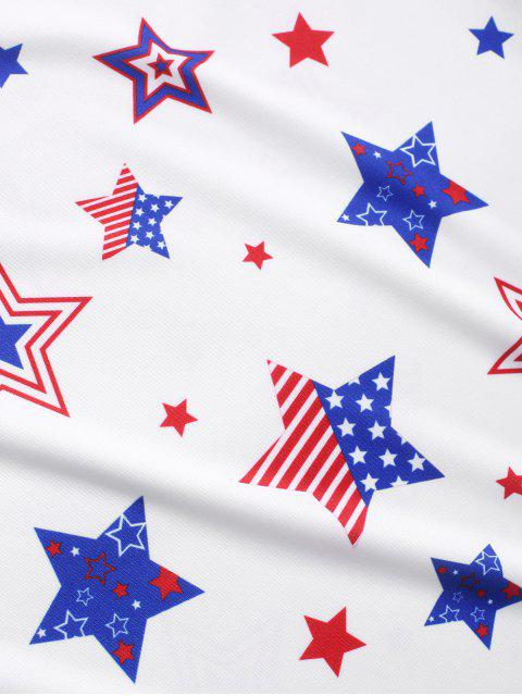 Camiseta con estampado de estrellas de la bandera americana - Blanco 2XL Mobile