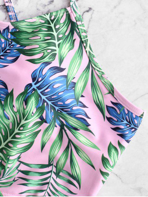 women's ZAFUL Lace Up Palm Tummy Control Tankini Swimsuit - MULTI-A S Mobile