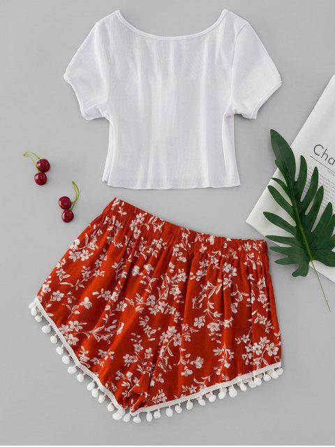 fashion Floral Print Half Button Pompoms Shorts Set - MULTI-A M Mobile