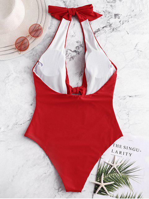 ZAFUL Halter Backless Keyhole nudo traje de baño - Rojo L Mobile