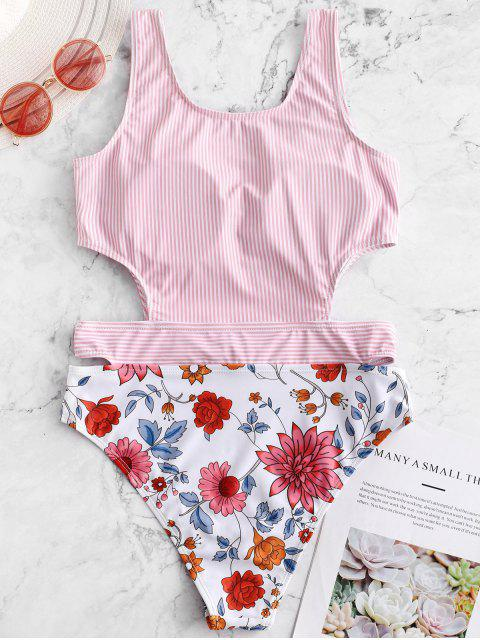 women's ZAFUL Flower Striped Cut Out Swimsuit - MULTI-A M Mobile