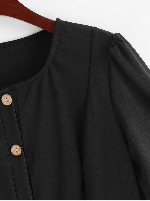 Mini Robe Droite Boutonnée en Couleur Unie - Noir S Mobile
