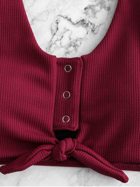 Bañador Tankini acanalado con botones a presión y bloque de color ZAFUL - Pastel de Ciruela L Mobile