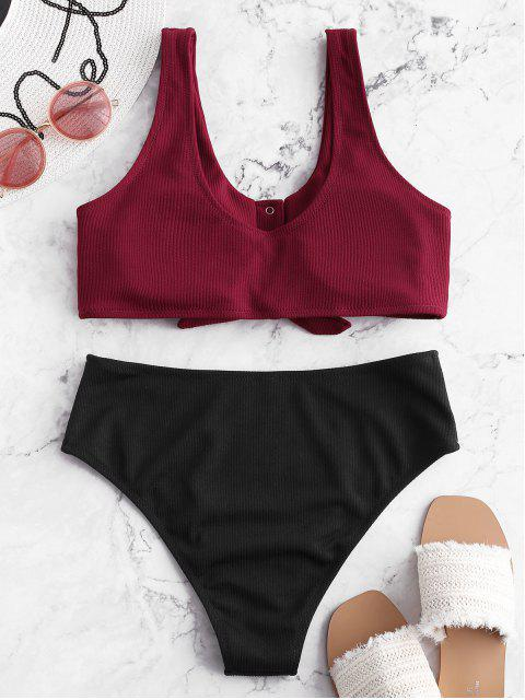 unique ZAFUL Color Block Snap Button Ribbed Tankini Swimsuit - PLUM PIE 2XL Mobile