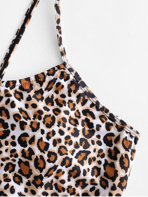 women ZAFUL Crisscross Ruched Leopard Tankini Swimsuit - BLACK S Mobile