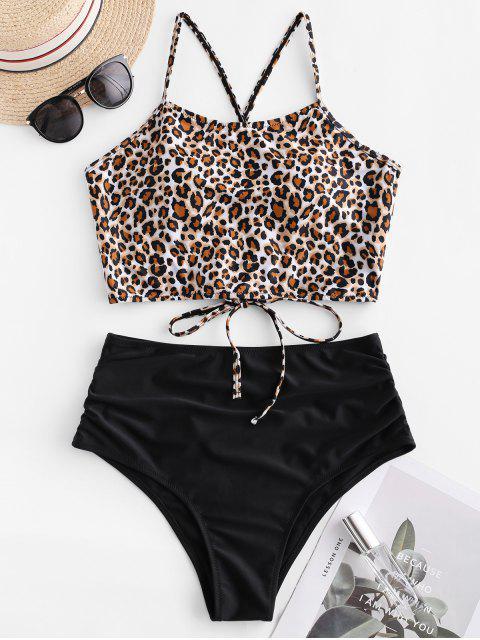 ZAFUL traje de baño cruzado de leopardo fruncido cruzado Tankini - Negro XL Mobile