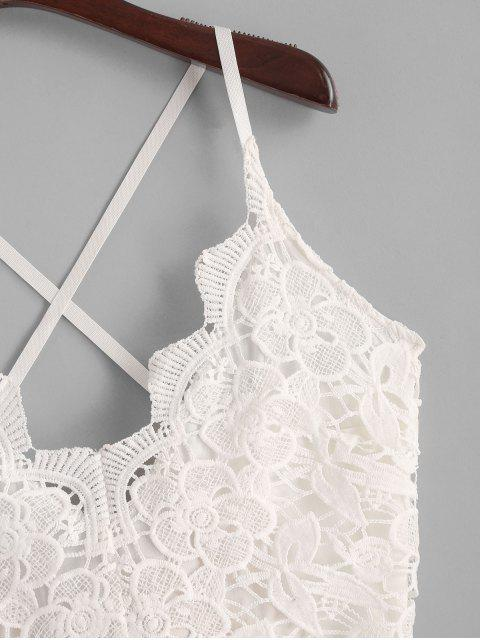 best Lace Panel Criss Cross Floral Cami Romper - MULTI L Mobile