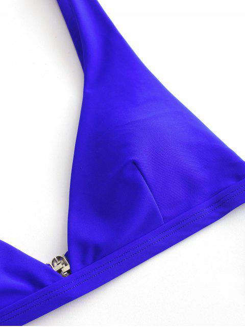 ZAFUL Maillot de Bain Bikini Plongeant à Coupe Haute - Bleu Cobalt S Mobile