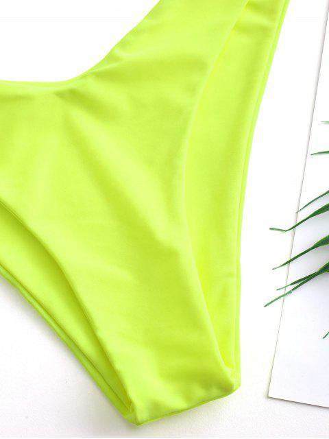 buy ZAFUL High Cut Plunge Bikini Swimsuit - GREEN YELLOW M Mobile