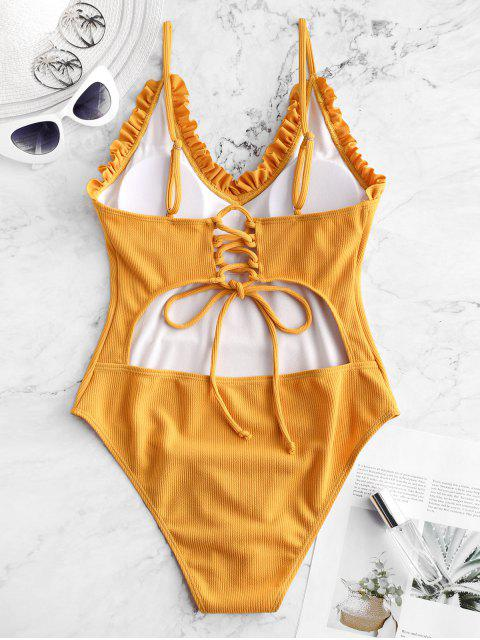ladies ZAFUL Frilled Lace-up Ribbed One-piece Swimsuit - GOLDEN BROWN M Mobile