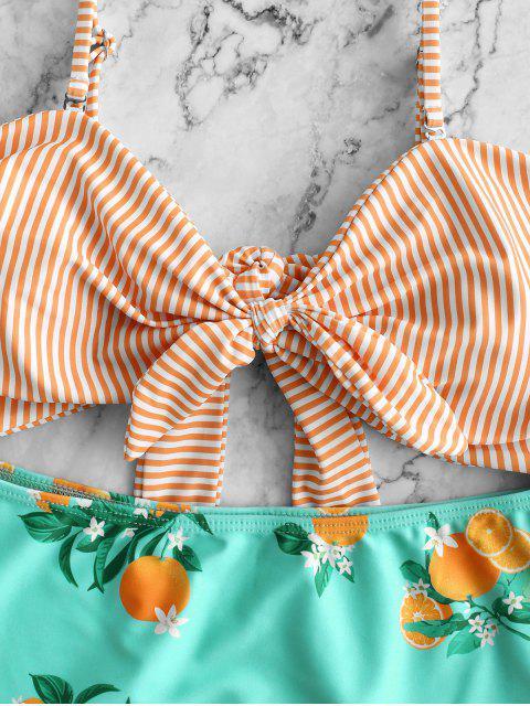 Costume da bagno a tinta unita con stampa ZAFUL a righe color arancio - Multi Colori-A M Mobile